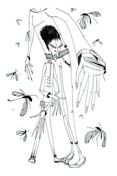 Atak owadów, rys. Ewa Goral