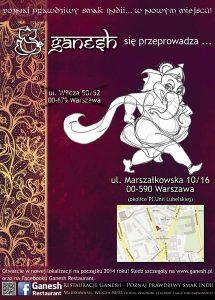 Warszawska przeprowadzka restauracji Ganesh