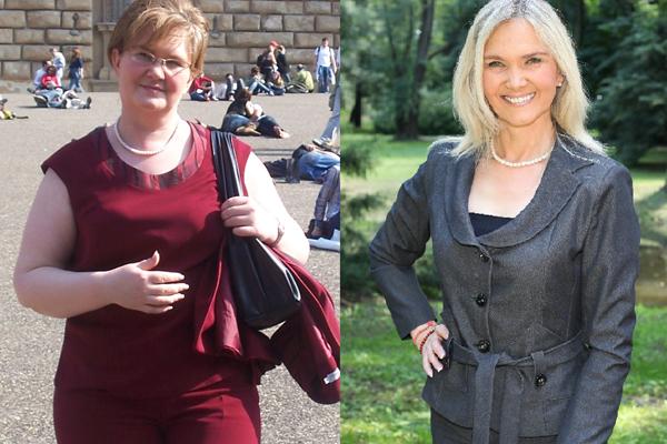 Gdy zaczynałam dietę, miałam 43 lata, a ludzie mówili, że wyglądam na własną mamę. Rok później dawano mi co najmniej 10 lat mniej. I w końcu zostałam odkryta, wybuchła medialna euforia / na zdj. Anna Kalata przed i po metamorfozie, fot. ach. prywatne