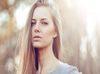 Sensual young blonde woman portrait outdoor fashion portrait