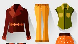 a set of women's clothing. vector illustration.