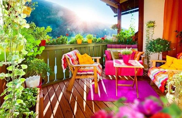 taras balkon rośliny pelargonie dom