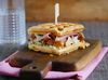Waffle sandwich with prosciutto, chanterelles and cream cheese meal