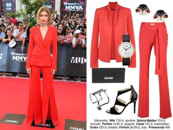 styl gigi czerwony garnitur