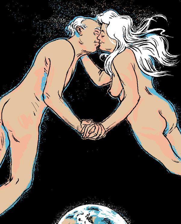 """""""Kobieta po pięćdziesiątce staje się bardziej świadoma siebie i rozbudzona seksualnie, mężczyzna zaś wychodzi z fazy seksualnego rozbuchania i ma większą potrzebę czułości, duchowości. Wreszcie mogą się spotkać"""" / ilustracja: Agata ENDO Nowicka"""