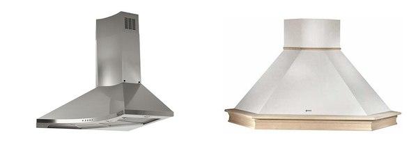 Okap narożny nowoczesny FRANKE Design Plus (z lewej) oraz okap rustykalny FABER Ranch Angolo (z prawej) / fot. materiały prasowe