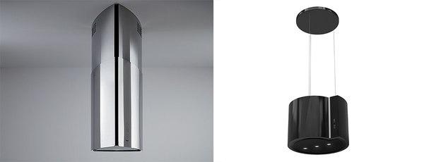 Z lewej okap tuba okrągły BEST GLOSS, z prawej okap wyspowy czarny, dekoracyjny GLOBALO Serina fot. materiały prasowe