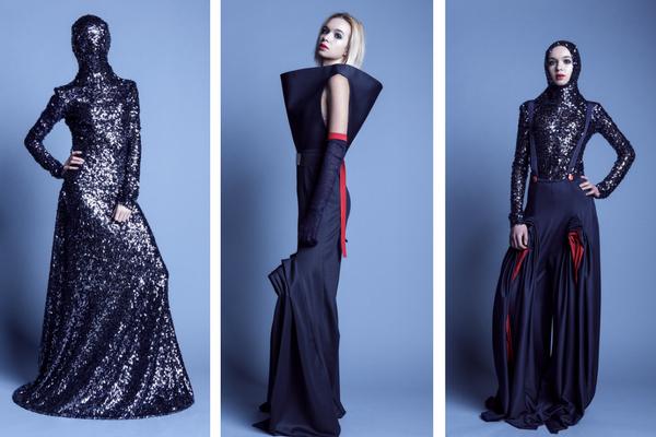 Ubiory wchodzące w skład kolekcji charakteryzują wysokogatunkowe włoskie tkaniny, plisowane ręcznie wełny i autorska biżuteria ze szkła akrylowego / fot. D. Łoziński
