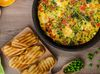 37345210 - vegetarian frittata with spinach, prosciutto and microgreens, fresh crispy baked baguette flavored with fresh pepper and olive oil
