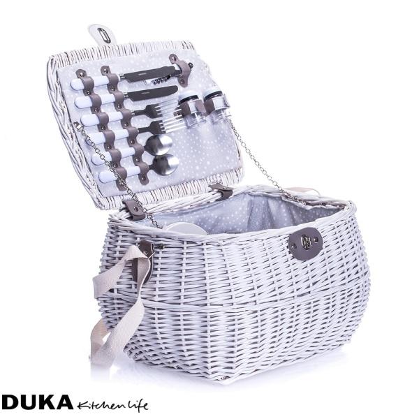 Wiklinowy kosz piknikowy z wyposażeniem dla dwóch osób / fot. Duka Polska