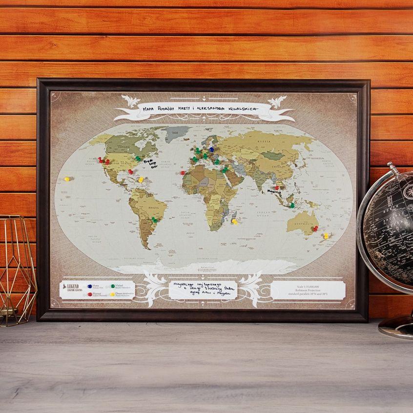Mapa podróży: Świat - przypnij swoje podróże
