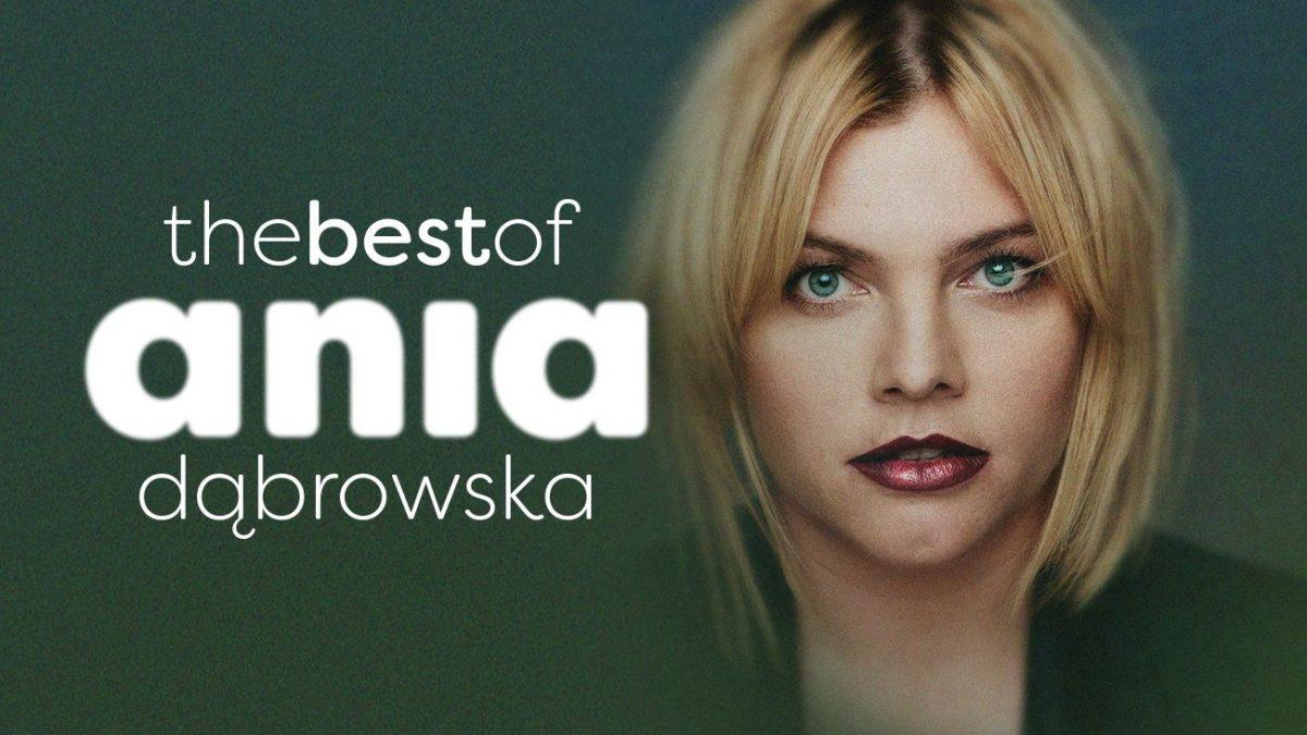 """Ania Dąbrowska na okładce swojego najnowszego albumu """"The best of"""" na zielonym tle z białymi napisami"""