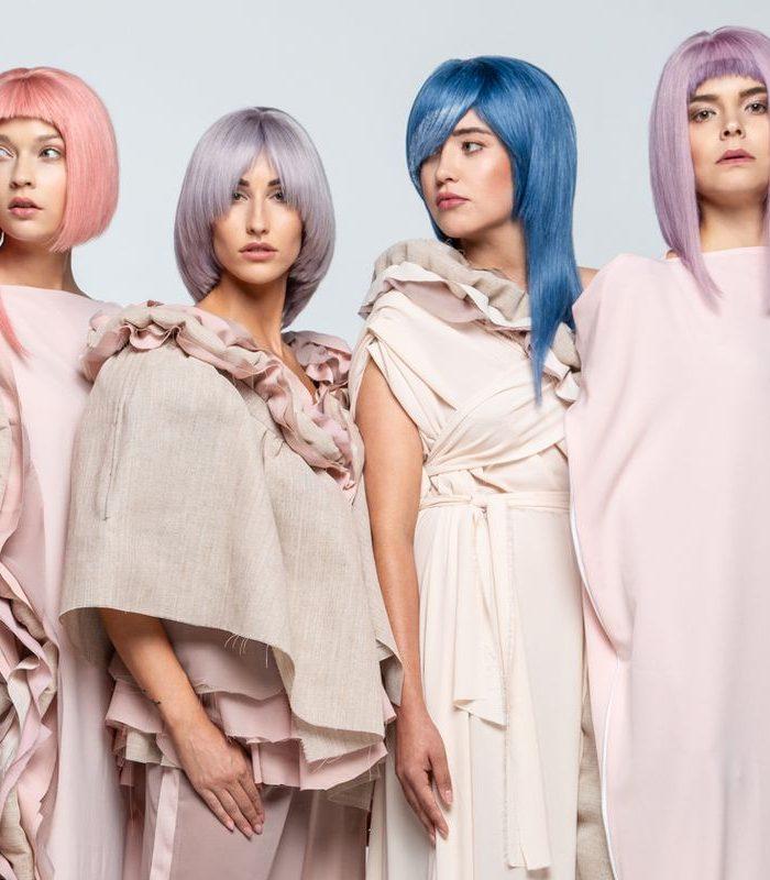 Modelki z fryzurami wykonanymi przez fryzjerów z Akademii Fryzjerskiej Berendowicz i Kublin