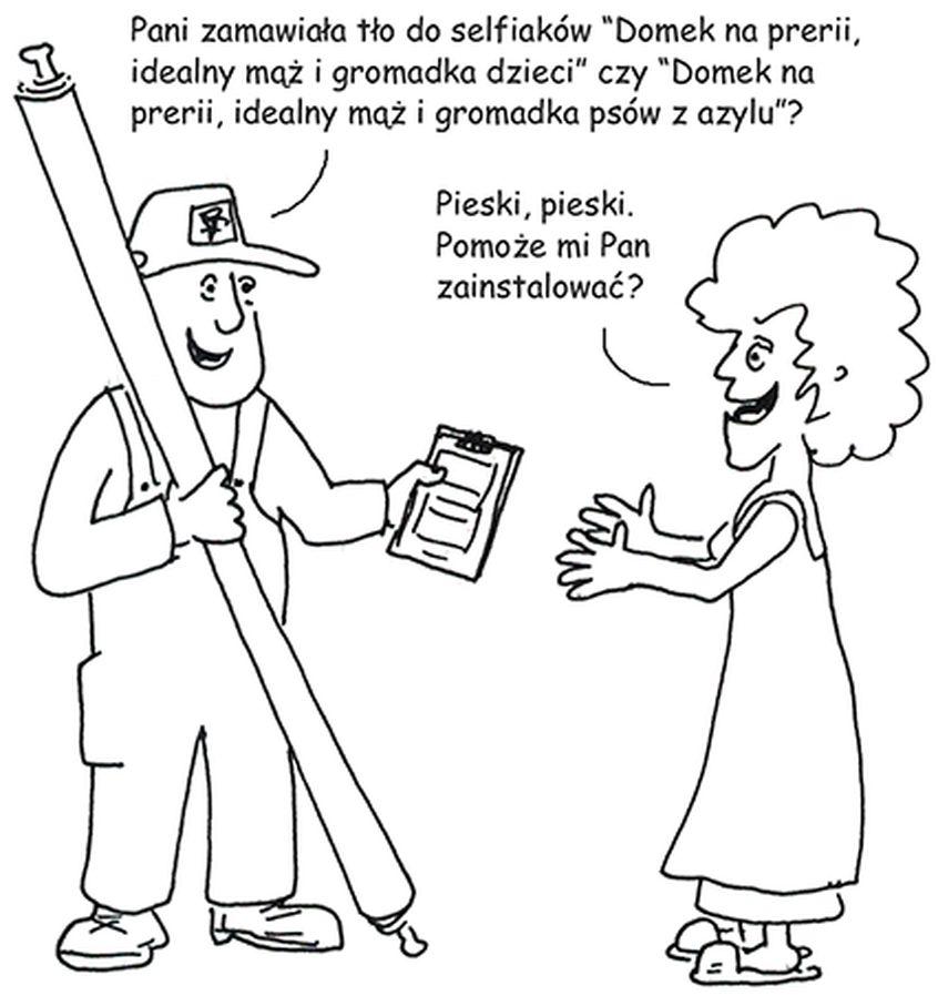 Rysunek Maćka Dziadyka przedstawiający dialog między kobietą a mężczyzną