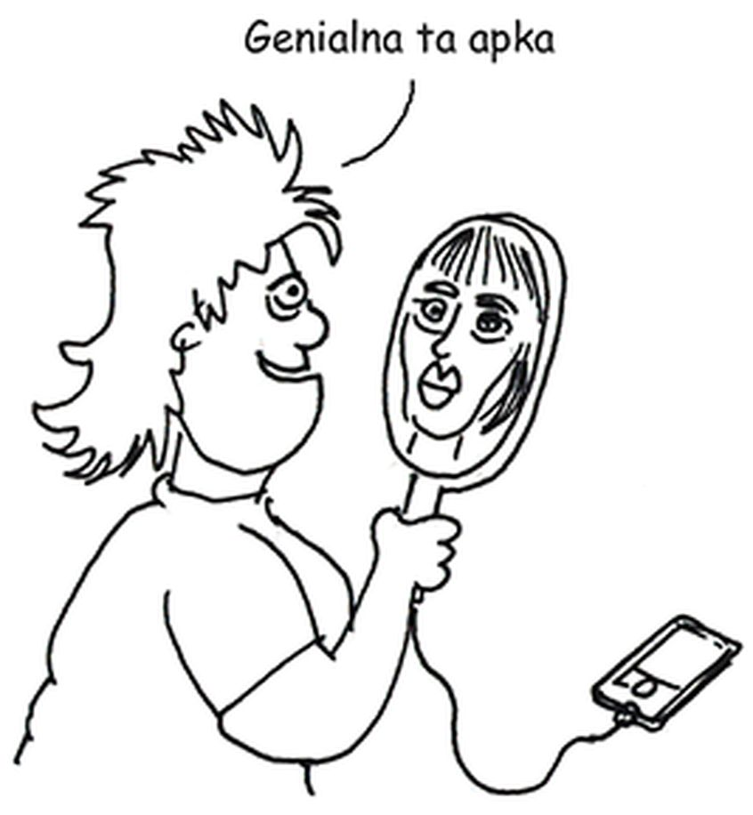 Rysunek Maćka Dziadyka przedstawiający przeglądającą się w lusterku kobietę