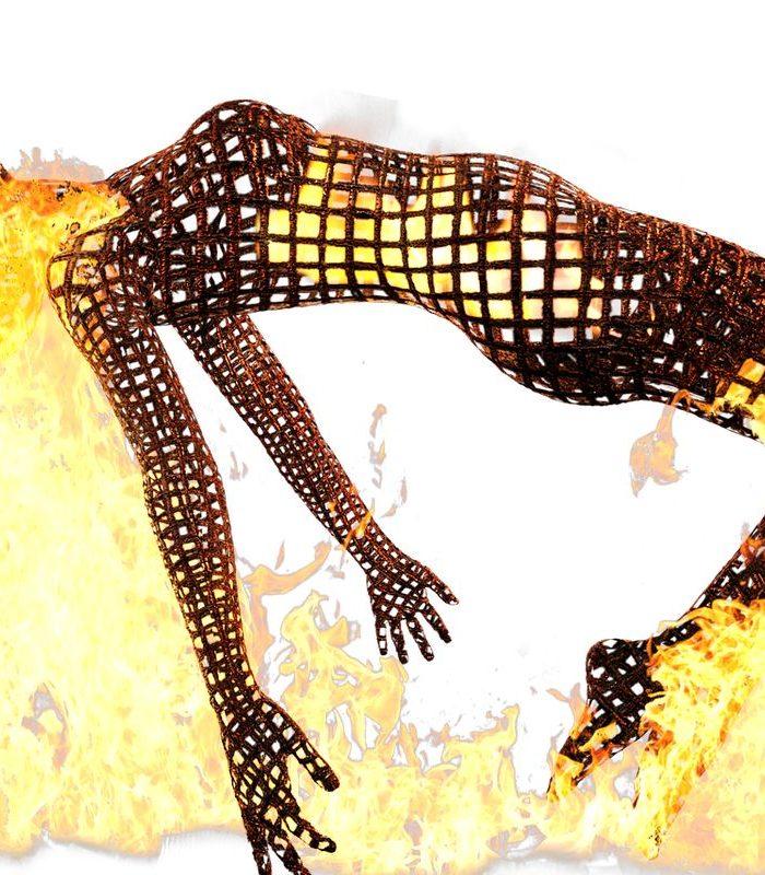 Człowiek w ogniu jako ilustracja choroby fabry'ego