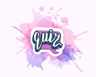 napis quiz na różowo-fioletowym tle jako obrazek do jednej z propozycji na wieczór panieński