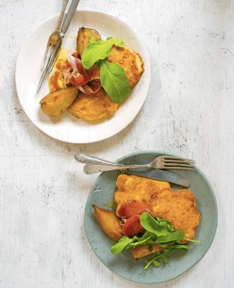 Placuszki z kalafiora i sera pecorino z pieczonymi gruszkami